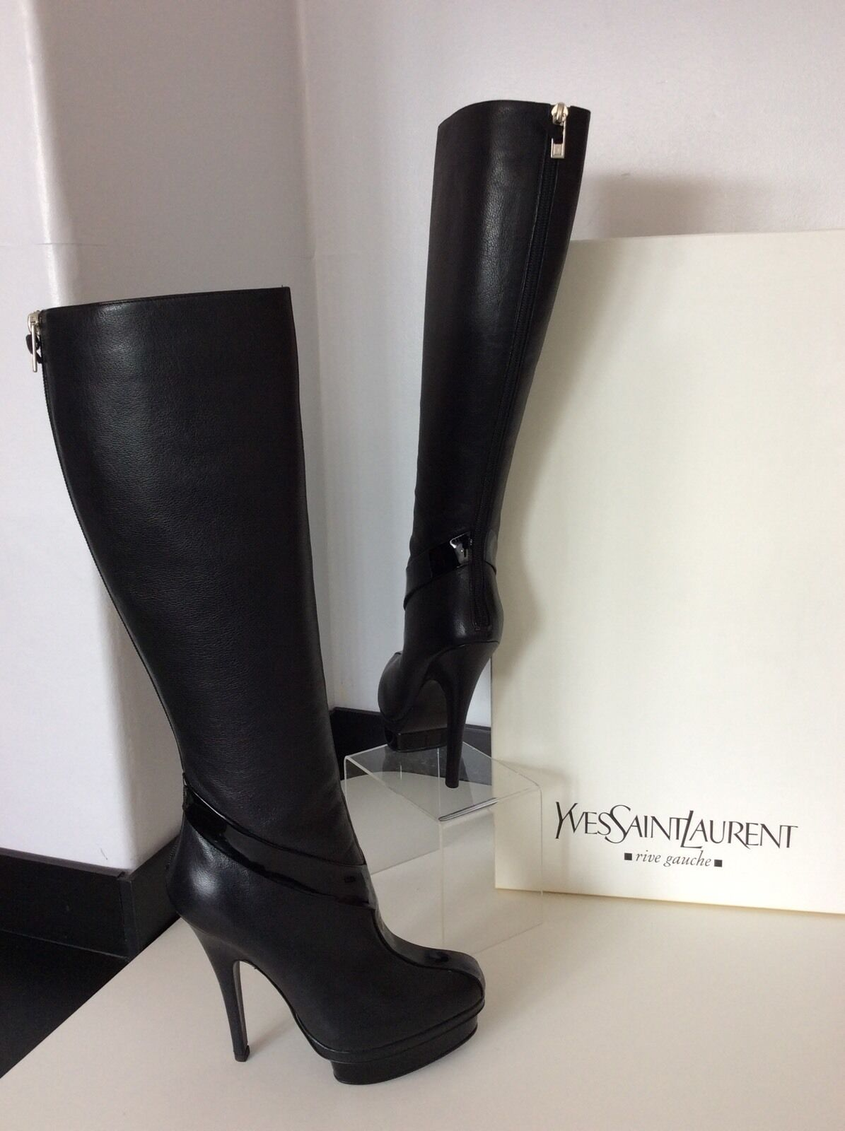 YSL YVES SAINT LAURENT schwarz Leder Patent Knee High Stiefel 38 Uk 5