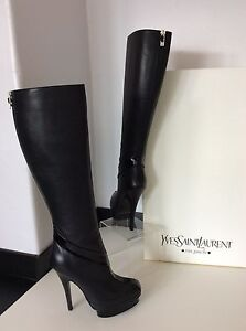 b08c2e6716 Details about YSL YVES SAINT LAURENT black Leather Patent Knee High Boots  38 Uk 5 £950