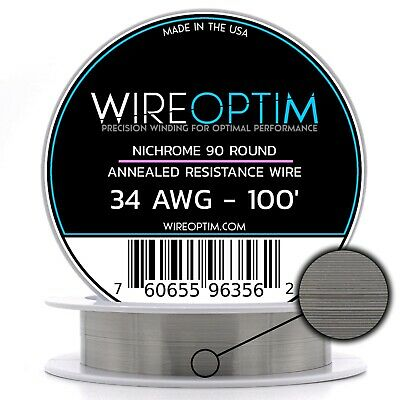 34 AWG Nichrome 90 Competition Wire 100/' N90 Wire 34g GA 0.16 mm 100 ft