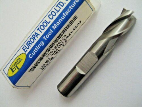 1//4 6.35mm END MILL FC3 COBALT HSSCo8 3 FLUTED EUROPA TOOL CLARKSON 5281020160 6
