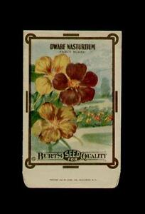 ANTIQUE 1910/'s BURTS TALL NASTURTIUM  SEED PACKET WOW