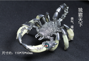 Teeth-of-wolves-Tibetan-silver-Scorpion-Pendant-decorate-Statues