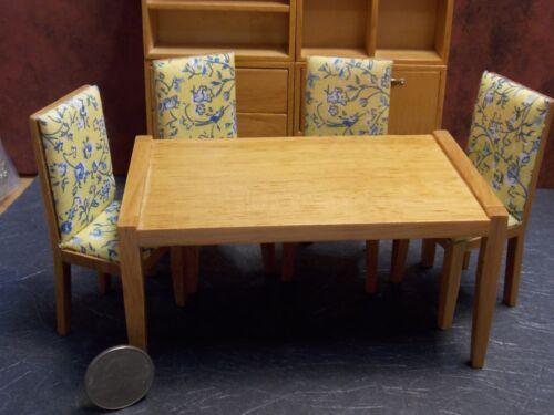 Dollhouse Miniature Modern Dining Room Set 9 p Oak 1:12 scale N60 Dollys Gallery