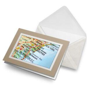 Greetings-Card-Biege-East-Coast-Map-USA-America-3252