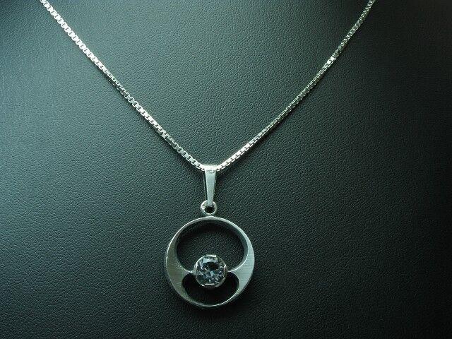 925 silver Kette & Anhänger mit Glasstein Besatz   Echtsilver   61,0cm   10,5g