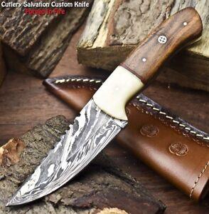 Hand Made Damascus Steel Blade Hunting Knife | Hard Wood