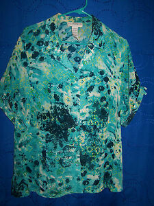 Womens-SAG-HARBOR-Multi-Color-Patterned-Button-Down-Shirt-size-16W