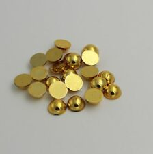 100pcs Half Pearl Round Bead Flat Back 8mm Scrapbook for Craft FlatBack gold.