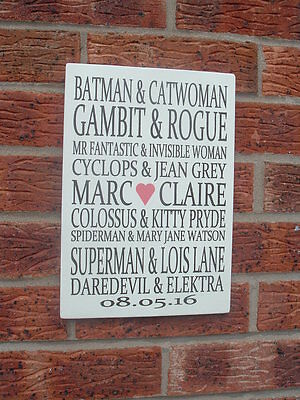 Personalised comic names batman  plaque-couples sign 12x8 shabby vintage chic
