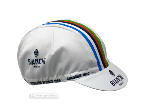 Bianchi Milano NEON White Multicolor Stripe Cycling Cap Made in Italy!