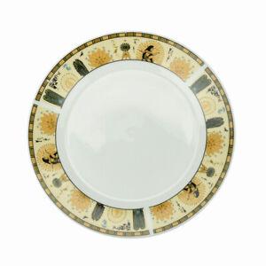 Lot-de-6-Assiettes-Plate-En-Porcelaine-Ronde-24cm-Plats-De-Service-Blanc-amp-Pharaon