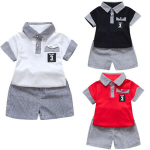 Shorts Pants Summer Outfits UK 2Pcs Toddler Kids Baby Boy Clothes T Shirt Tops