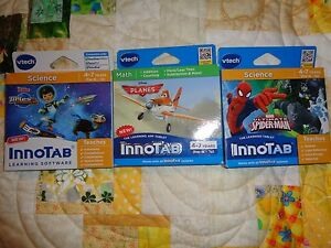 Lot-OF-3-VTECH-INNOTAB-GAME-CARTRIDGES-MILES-TOMORROWLAND-PLANES-SPIDERMAN-LT-13