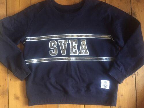 blu blu scuro scuro L m Svea svedese Logo taglia Maglione t7qw17