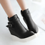 thumbnail 7 - Women Pointed Toe Wedge Heels Ankle Boots Punk Leather Vintage Party Chic Shoes