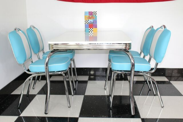 American Diner Furniture 50s Style Retro 4 Legged Table And Blue Chairs
