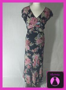 Laura Ashley Floral Maxi Dress Size 14 Uk 100 Silk Ebay