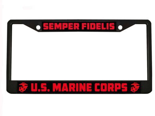 SEMPER FIDELIS US MARINE CORPS Chrome//Black License Plate Frame License