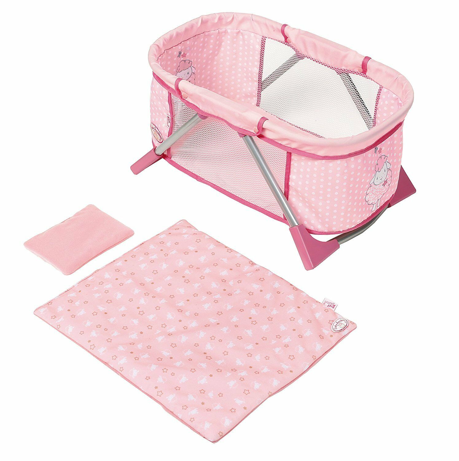 BABY ANNABELL TRAVEL BED COT FOR DOLLS BRAND NEW FOR AGES 3 YEARS AND UP
