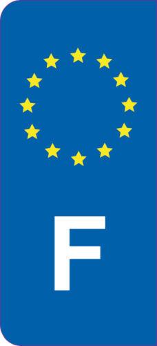 2x Sticker style Immatriculation auto adhésif 10cm lettre F