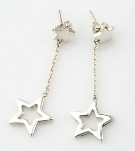 Image Is Loading Tiffany Amp Co Sterling Silver Star Drop Earrings