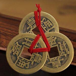 Mode 2 Set Of 3 Chinese Chinesische Glücksmünzen Talisman Feng Shui