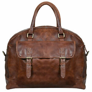 Image is loading Mens-Vintage-Brown-Tan-Genuine-Leather-Overnight-Travel- ffad0ca8111fe