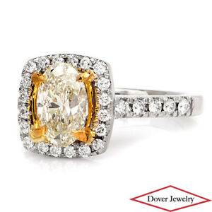 Estate-2-14ct-Fancy-Natural-Yellow-Diamond-14K-Gold-Halo-Engagement-Ring-NR