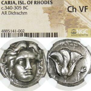 RHODES-Helios-Radiate-NGC-Choice-VF-Grapes-E-Didrachm-Ancient-Greek-Silver-Coin