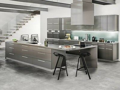 11 X 14 Contemporary Milano Slate Gloss Kitchen Cabinets Door Sample Slab Gray Ebay