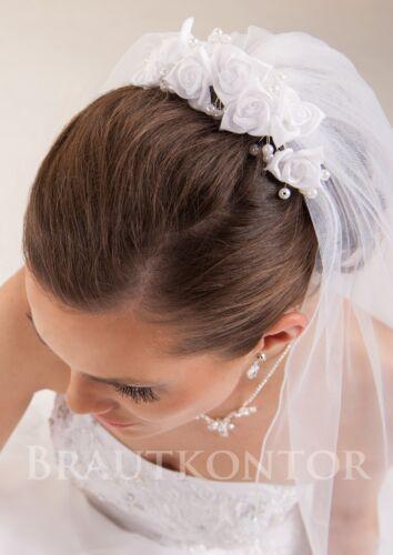 Capelli Da Sposa Gioielli Matrimonio Velo completamento CORONA SATIN rose perle bk-91