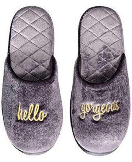 Womens Hello Velour Scuff Slippers Gray