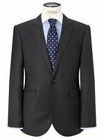 John Lewis Grey Windowpane Check Tailored Charcoal Jacket Uk Size 40r £140