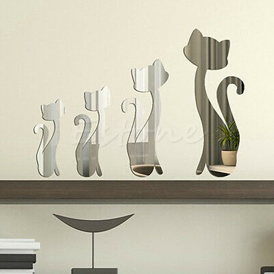 4pcs New Mirror Cats Kitten Wall Decal Home Decoration Vinyl Art Mural Stickers