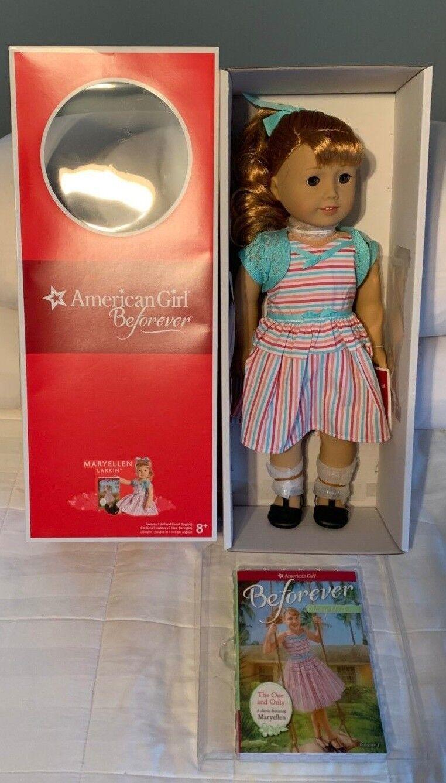 Nuevo American Girl Doll Mary Ellen Larkin beforever Con Libro Nuevo en caja nunca quitado de la Caja Maryellen