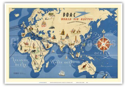 Eastern Hemisphere Air Routes BOAC 1949 Vintage Airline Travel Poster Print