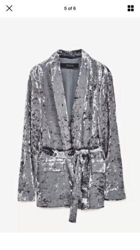 Veste Métallisé Blazer Bleu Zara Ceinture Velours Kimono Couleur Femmes Gris qn8FwxxS