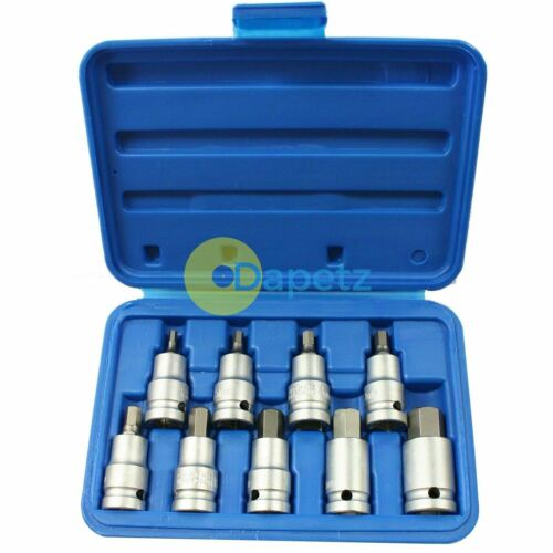 9pc 1/2 inch Drive Hex Allen Key Bit Socket Set 4, 5, 6, 7, 8, 10, 12, 14. 17mm