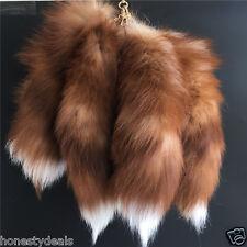 10pcs Brown Yellow White Real Crystal Fox Fur Tail Keychain Bag Tassel Charm