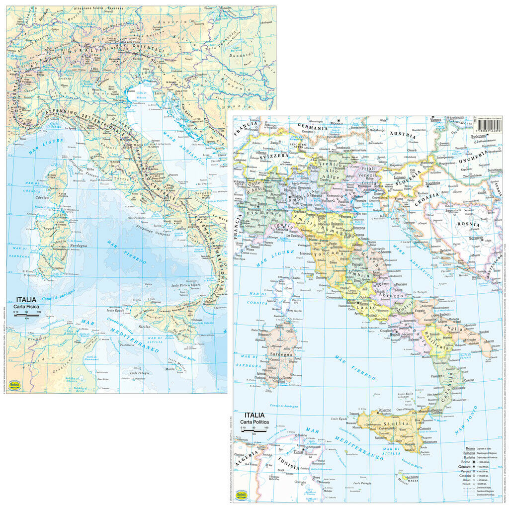 Italia Cartina Da Banco Bi Facciale 297x42 Cm Cartamappa