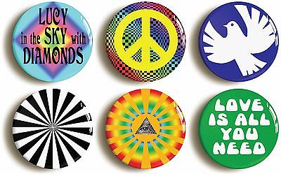PSYCHEDELIC HIPPIE SIXTIES BADGE BUTTON PIN SET (Size is 1inch/25mm diameter)