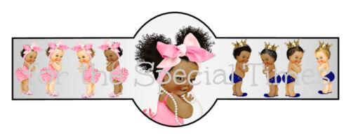 Set of 16 Silver Buckle Custom Baby Cigar Band Label It/'s A Girl Boy Favor