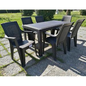 Set tavolo e sedie poltrone giardino rattan terrazzo for Poltrone da terrazzo