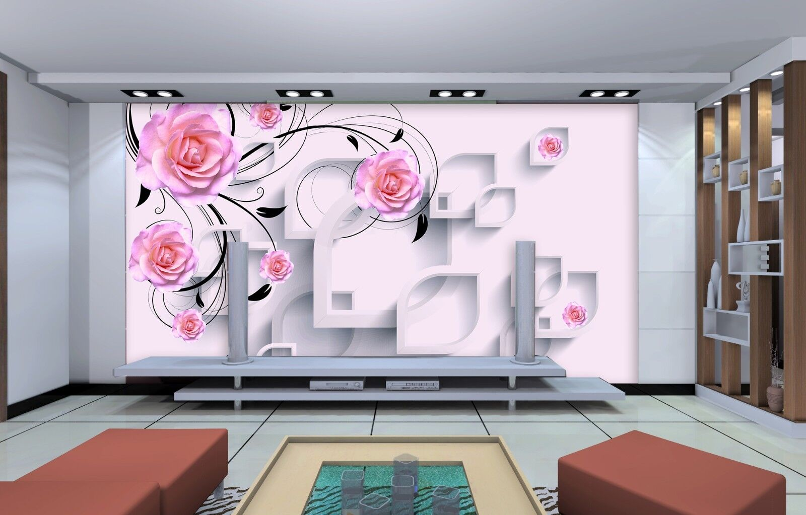 3D Rosa Blaumen Muster 993 Tapete Wandgemälde Tapeten Bild Familie DE Jenny | Perfekt In Verarbeitung  | Moderater Preis  | Vollständige Spezifikation