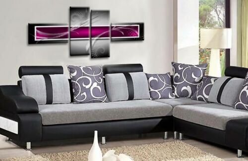 Large Abstract Wall Art Picture Grey Purple Canvas Print 56/""