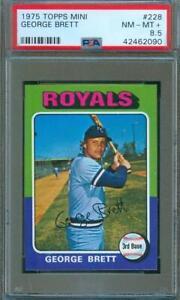 1975-Topps-MINI-Baseball-Trading-Card-GEORGE-BRETT-Rookie-Royals-228-PSA-8-5