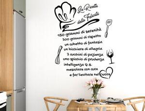 Adesivi Murali X Cucina.Adesivi Murali Frasi Cucina Ricetta Wall Stickers Adesivo Da Muro
