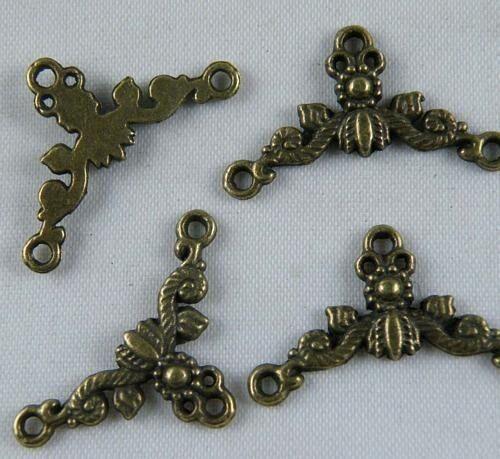 70pcs zn3138 Tibetan Silver Bronze Color Twisted Circle Connectors 15x2.5mm