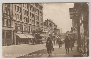 Wales-postcard-Queen-Street-and-Dominion-Buildings-Cardiff-A482