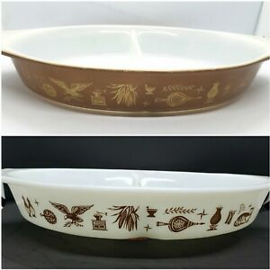 2 Vintage Pyrex Early American Divided Dishes 1.5 QT White Brown Gold No 6 12
